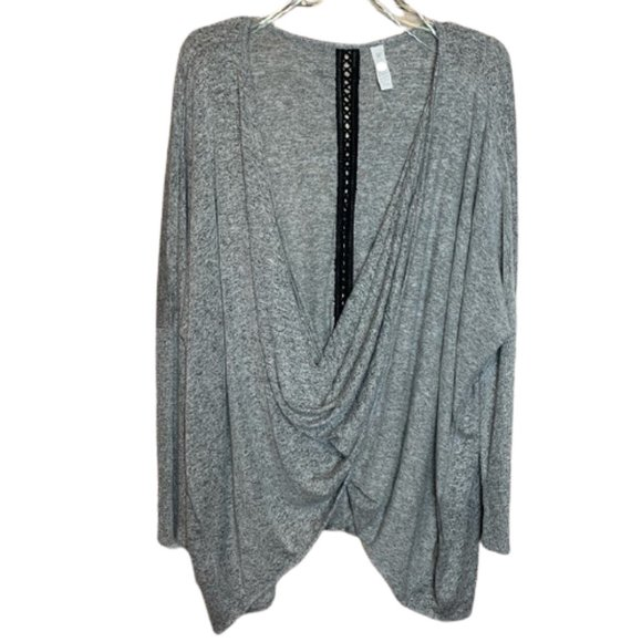 LIVI ACTIVE for LANE BRYANT Gray Twist Sweater 14